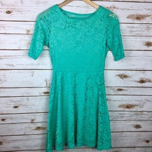 Mint Green Catch My i Lined Pleated Eyelet Dress